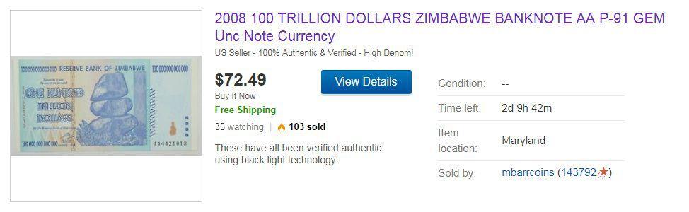 Zimbabwe Banknote