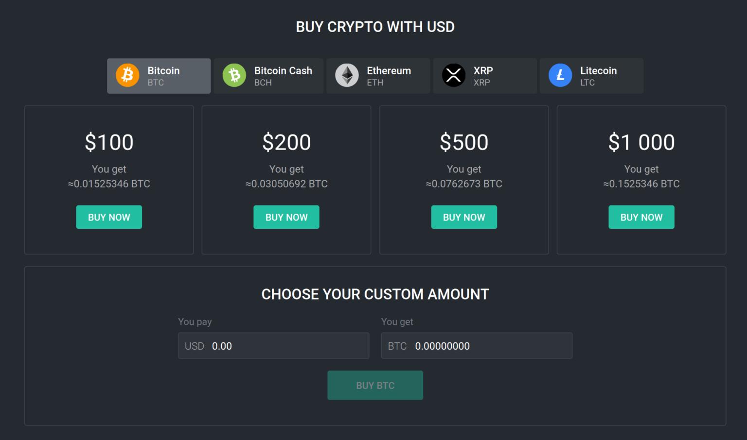 acheter du bitcoin avec USD