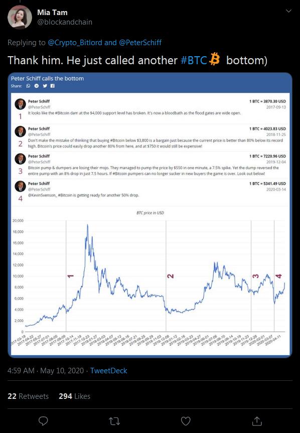 Peter Schiff Calls Bitcoin Price Bottom