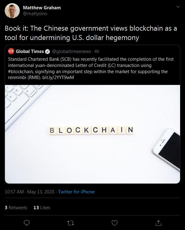 China Eyeing Blockchain to Displace the U.S.