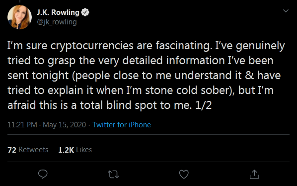 JK Rowling Still a Bitcoin Muggle
