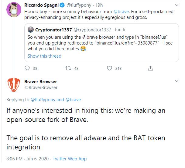 Brave and referral link beincrypto tony toro