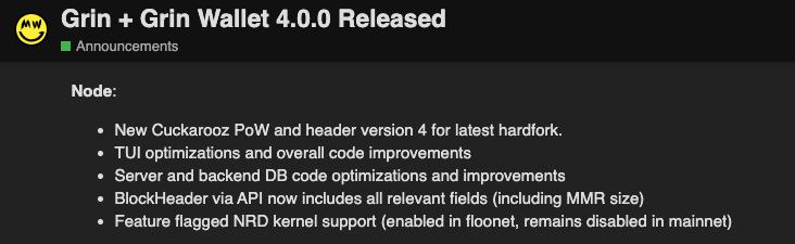 Grin nodes features update beincrypto tony toro