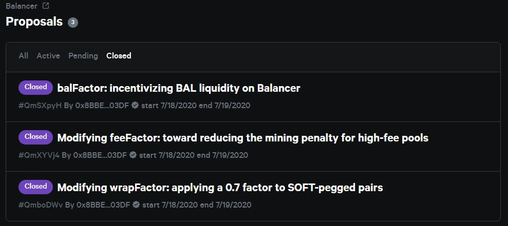 Balancer proposals