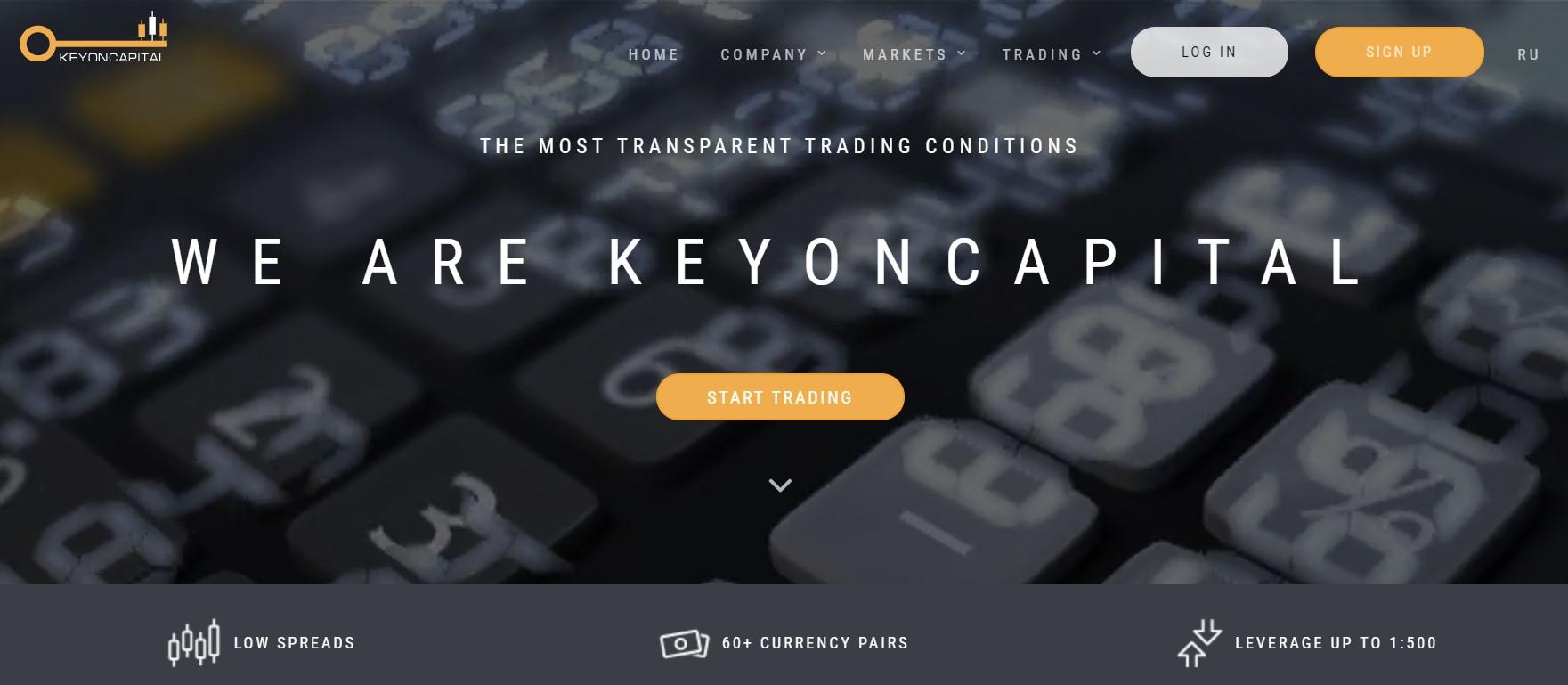 Key on capital landing page