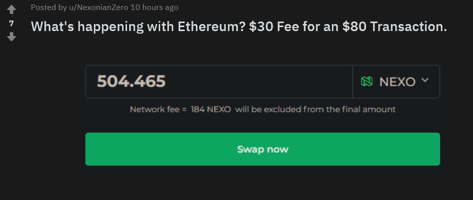 High fees for nexo