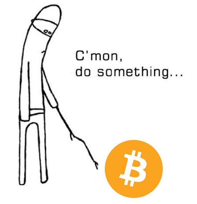 stick figure poking bitcoin