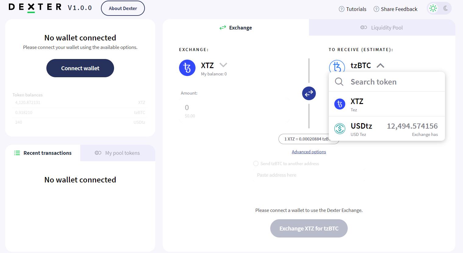 dexter exchange interface