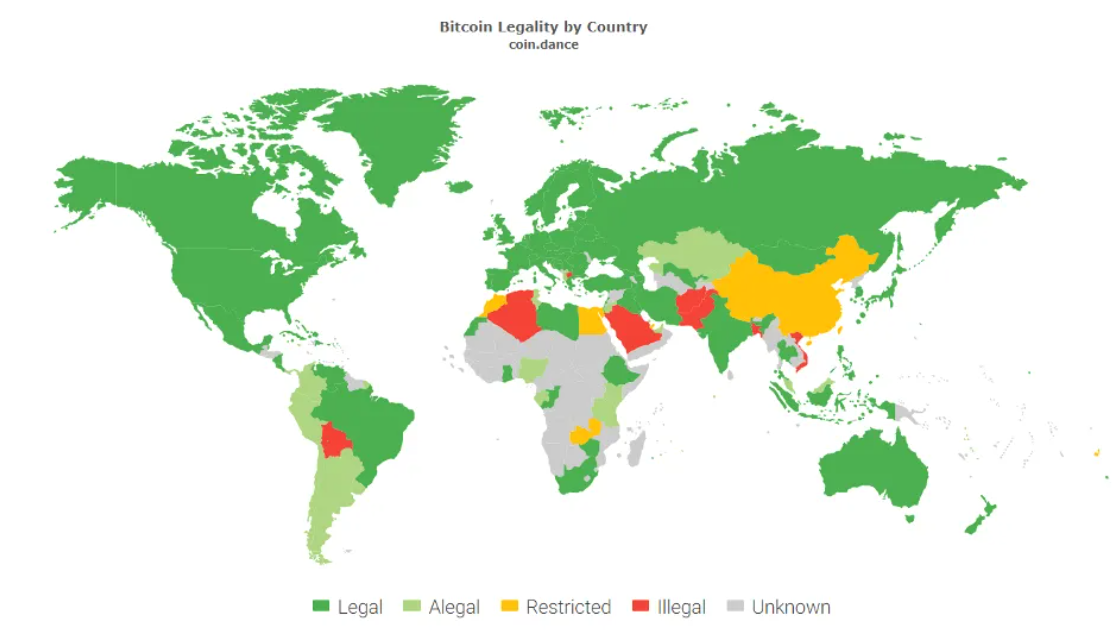 map of countries where crypto is legal