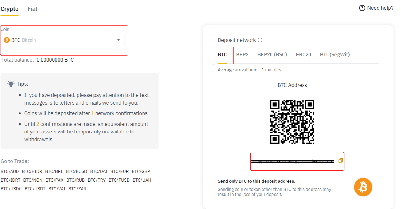 Binance Deposit Bitcoin