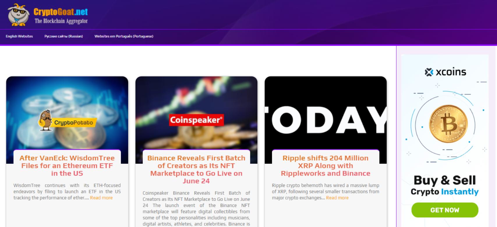CryptoGoat website