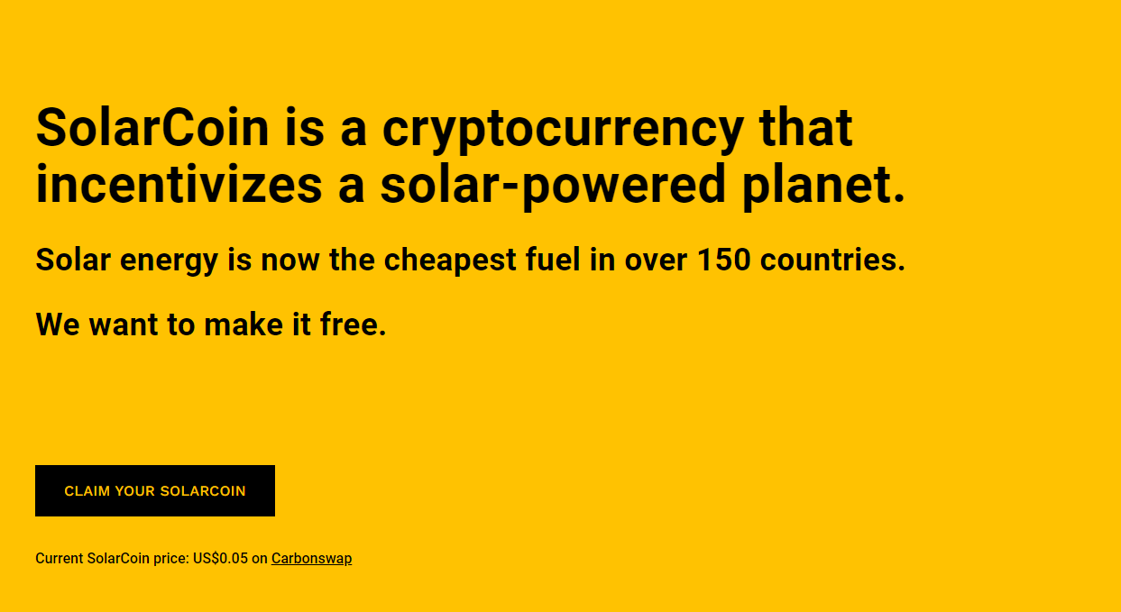 SolarCoin, one of the most eco-friendly cryptocurrencies