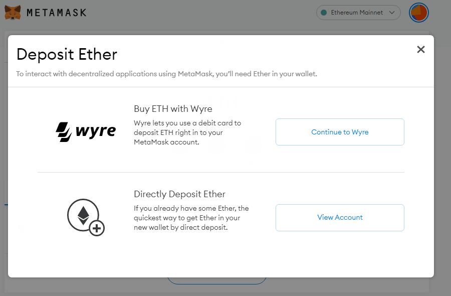 Guide to MetaMask | How to deposit Ether