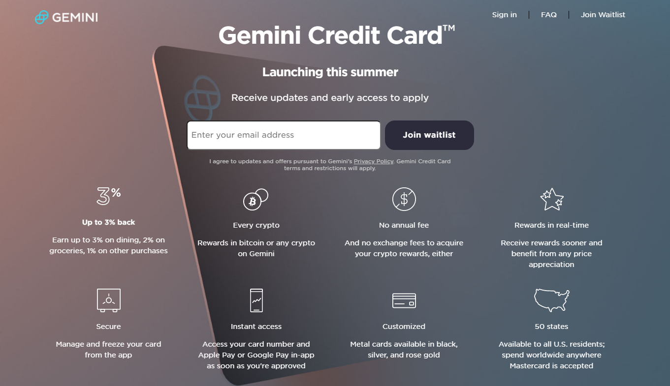 Once launched, Gemini card would be one of the best crypto credit cards available.